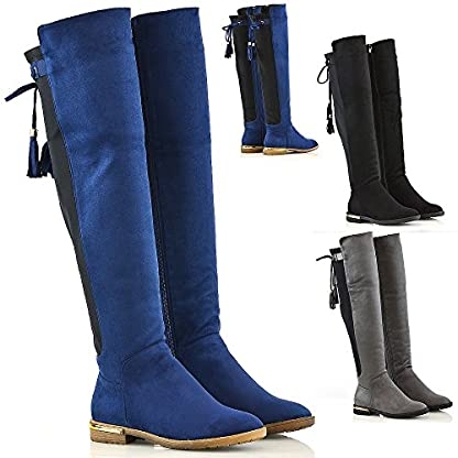 New Womens Over The Knee High Gold Trim Flat Heel Tassel Ladies Stretch Boots 1