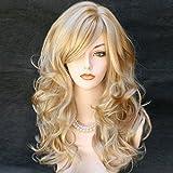 Kalyss de las mujeres de la alta calidad larga de pelo rizado pelo ondulado con mechas a prueba de calor dorada y balón de cabello Rubio de material sintético humano verdadero para el pelo de las pelucas como
