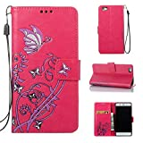 Eafior Coque Huawei P8 Lite,Ecoway étui en Cuir PU Narcissus Motif gaufré Cas de téléphone Fonction de Support Pliable Cartes de Crédit Slot et Sangle détachable à Main(Red Rose)