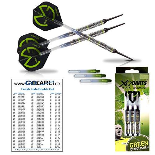 "XQMax Michael van Gerwen \""Green Demolisher\"" 18gr. - 70{3192243e3d38766a5cdaa36cc92cd356050ea15bbd8cabff951fbefe76ec6ffe} Tungsten Darts (Soft Dartpfeile) mit GOKarli Finish Card"