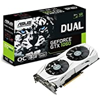 Asus DUAL-GTX1060-O3G NVIDIA GeForce OC Edition 3 GB GDDR5 192 Bit Memory PCI Express 3 Graphics Card - Black, 24 X 4 X 11.5 cm