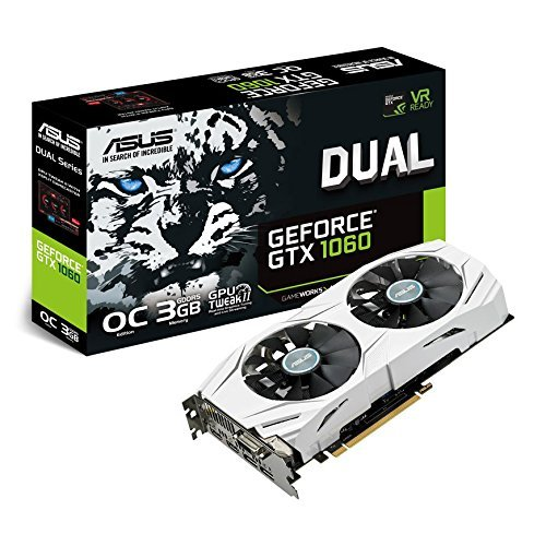 Foto de ASUS DUAL-GTX1060-O3G - Tarjeta gráfica (Dual, NVIDIA GeForce GTX 1060, 3 GB, GDDR5, HDMI, HDMI, DVI, DP) color blanco