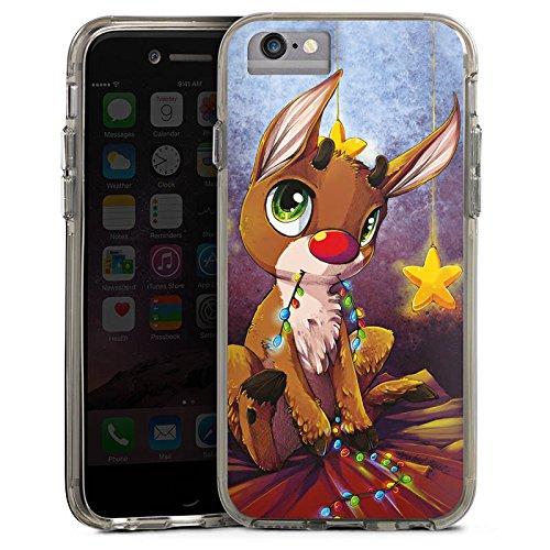 Apple iPhone X Bumper Hülle Bumper Case Glitzer Hülle Reindeer Rentier Rudolf Bumper Case transparent grau