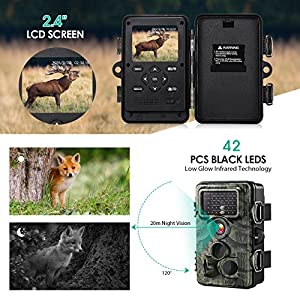 Wildlife Camera[Day & Night Version], 12MP 1080P HD IP66 Waterproof Trail Camera with 130° Wide Angle Lens 120° Detection 42 Pcs 940nm Updated IR Black LEDs Low Glow Black Infrared Game Camera for Hunting/Monitor/Protect/Surveillance