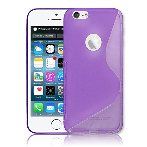 Light Weight Apple Iphone 6 S-Line Wave Purple TPU Flexible Silicone Gel Case Cover For Apple iPhone 6 Line Wave Tpu Case