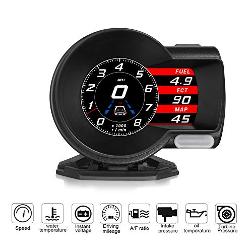 4' HUD OBD2 Display Strumento diagnostico OBD-II 6 modalità Indicatore misuratore di velocità Allarme Guida di Guida Stanca Rapporto Temperatura Acqua Chilometro Temperatura Olio Pressione Turb