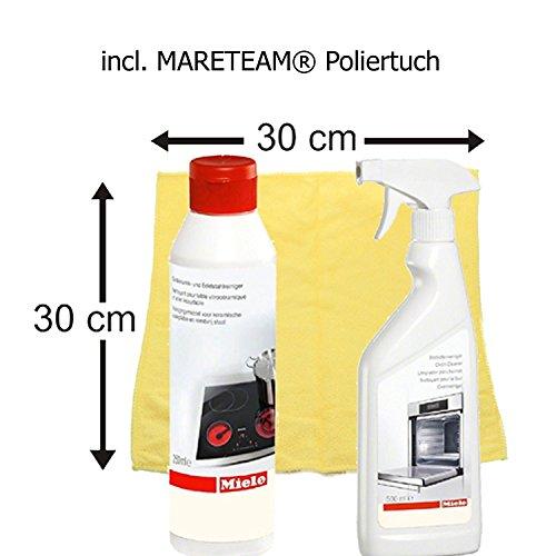 Pack de ahorro Miele placa vitrocerámica y limpiador para acero inoxidable + Miele para horno de limpiador de + gamuza limpiadora de microfibra