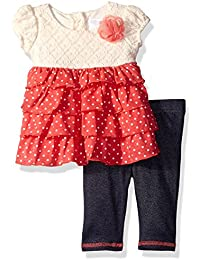Youngland Baby Girls' 2 Piece Knit Dress with Denim Legging