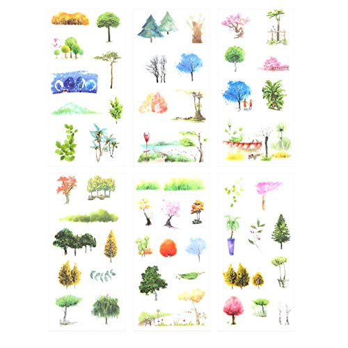 Lumanuby 6 Blätter Bunt Baum und Blume Tree Aufkleber Washi Papier Sticker von Verschiedene Arten von Bäumen mit Verschiedenen Formen DIY Deko für Tagebuch/Scrapbooking, Aufkleber Serie Size 8x16cm