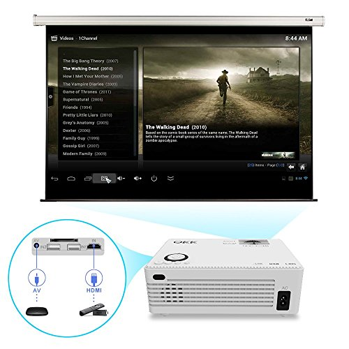 QKK 2200 Lumens LCD Projector, Mini Home Theater Projector, Supports ...