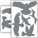 Vogelschutz und Fensterschutz - 10 Aufkleber - Schutz vor Vogelschlag - Sticker Vögel (Grau)