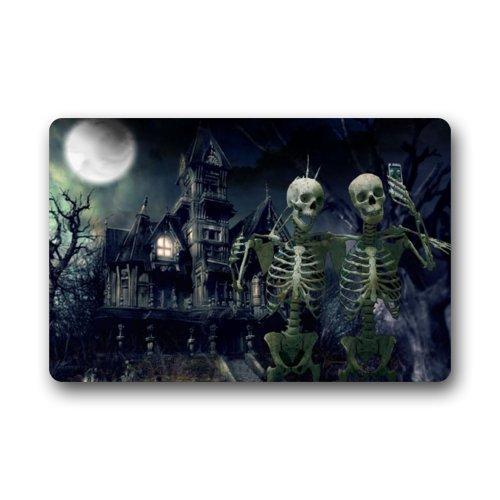 zunhuagong WECE Happy Halloween Skeleton Non-Slip Rubber Door mat Floor Doormats 23.6 x 15.7 Inch