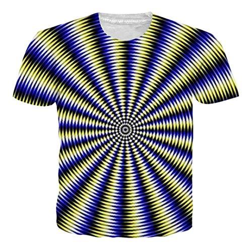 Schwarz Weiß Vertigo Hypnotic Printing T-Shirt Unisex Lustige Kurzarm T-Shirts Männer Frauen Tops 3D T-Shirt 51 Asian S
