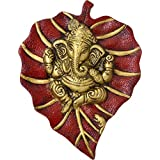 Crafticia Oxidized Metal Green Wall Leaf Ganesha God Idol Statue Diwali Decorative Spiritual Vastu Figurine - Religious Pooja Gift Item & Murti For Mandir Temple Office Handmade Gift Item For Home Decor Pink City Rajasthani Handicraft Showpiece :- 6X8