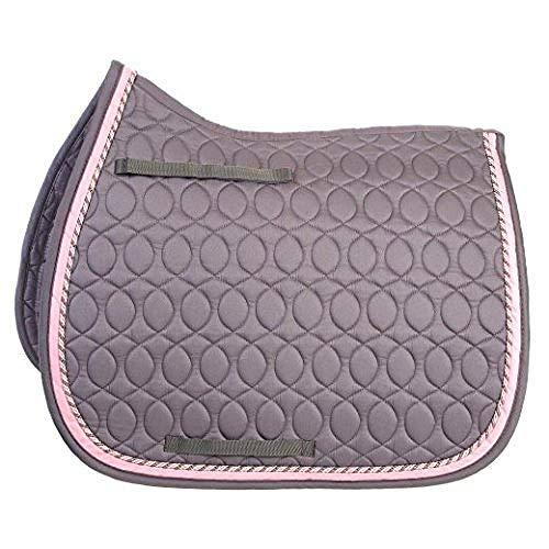 HySPEED Deluxe Schabracke mit Kord-Einfassung (Pony) (Grau/Grau/Pink/Silber)