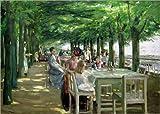 Poster 70 x 50 cm: Terrasse vom Restaurant Jacob in Nienstedten an der Elbe von Max Liebermann - Hochwertiger Kunstdruck, Kunstposter