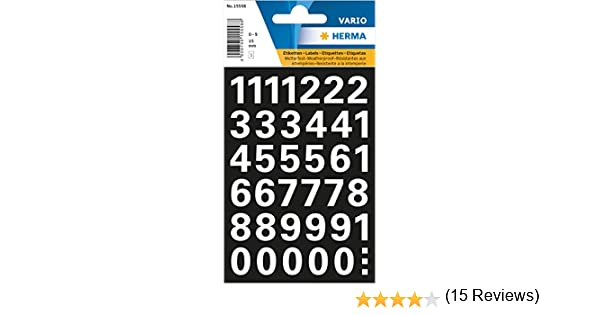 Numeri da 15 mm colore: Bianco resistenti alle intemperie Herma 15558 0-9