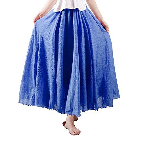 Damen Rock Bohemia Taille elastisch Freizeit aus Baumwolle Kleid Blau Jeans 95CM Länge Cord-flare Jeans