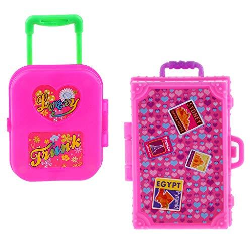 ZEAGRO 2 Pezzi Rosa plastica Pieghevole Valigia Valigia di rotolamento per Dollhouse Accessorio di Decorazione