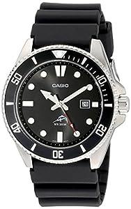Casio Hombre Negro Analog anti Reverse Bisel reloj de Casio