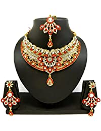 Lalso Stunning Red Stone Delicate Choker Jewellery Necklace SetFor Wedding Festival - LSN07_RD