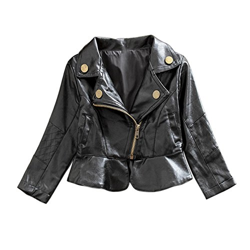 Kinder Mädchen Jacke,Brightup Herbst Winter PU Leder Jacke,Freizeit Mäntel, Zipper Outwear