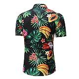 UFACE Kurzärmeliges Herrenhemd Man Retro Floral Bedruckte Bluse Casual Kurzarm Dünne Hemden Tops
