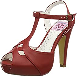 Pinup Couture Bettie-23, Plataforma para mujer, rojo (Red faux leather RPU)