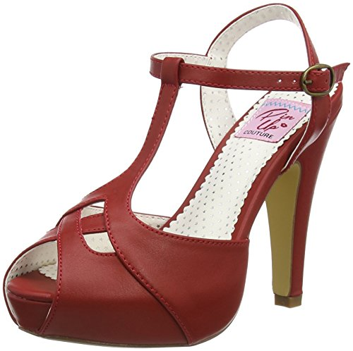 Peep Toe Faux Leder-pumpe (Pinup Couture Damen BETTIE-23 Offene Sandalen, Rot (Red Faux Leather), 41 EU)