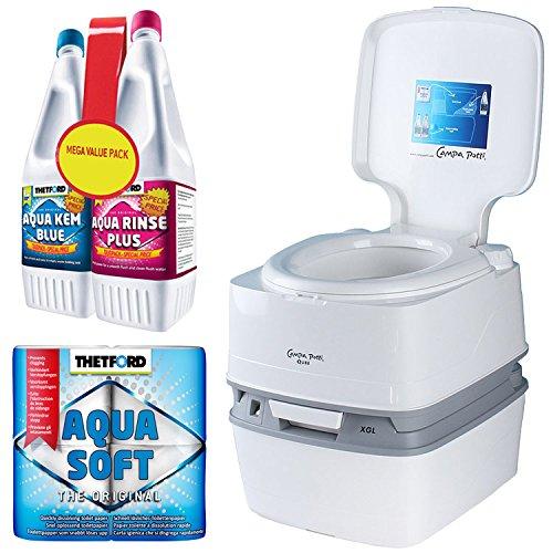 Thetford Set Campingtoilette XGL mit WC Chemie 1,5 L Aqua Rinse 1,5 L Aqua KEM Blue + Aqua Soft Papier