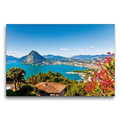Premium Textil-Leinwand 75 x 50 cm Quer-Format Lugano am Luganer See | Wandbild, HD-Bild auf Keilrahmen, Fertigbild auf hochwertigem Vlies, Leinwanddruck von Werner Dieterich