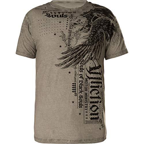 Affliction T-Shirt Eagle Crust Grau, L - Affliction T-shirt Aus Baumwolle