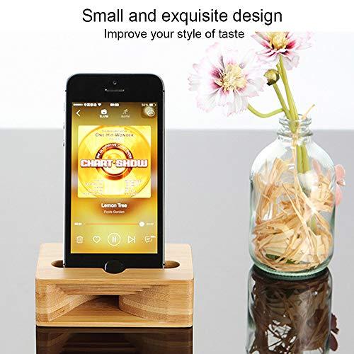 Handy-Halter, Jelly Comb Aufladendockstation Handy-Halter-Verstärker Lautsprecher für iPhone, Samsung, alle Smartphone, Natürliche Holz