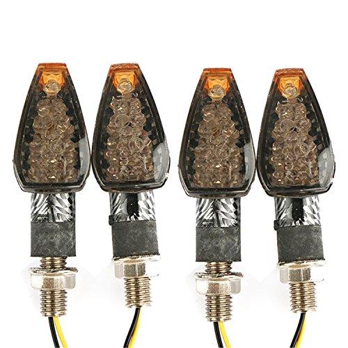 4x 14LED 12V Blinker Motorrad ATV Roller 10mm Universal Mini Blinkleuchte Mortoradblinker Lampe mit E Zeichen Kohlefaser - Blinker