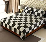 Home Candy 144 TC Elegant Sqaures Geometrical Cotton Double Bedsheet with 2 Pillow Covers - White