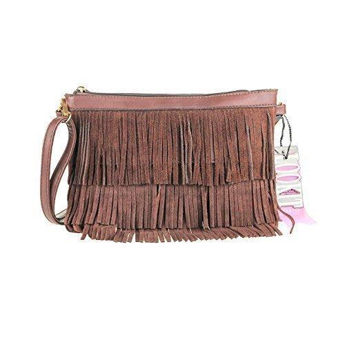 CrossOver Braun Clutch Abendtasche Tasche Fransen Taupe Damentasche OBC Schultertasche Umhängetasche design ital 81q1zP