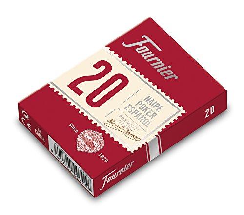 Fournier - Baraja poker español Nº 20, 55 cartas, surtido de colores azul o rojo (F21002)