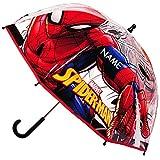Unbekannt Regenschirm -  Ultimate Spider-Man - Marvel  - inkl. Name - Kinderschirm Ø 70 cm / durchsichtig & durchscheinend - transparent - Kinder - groß Stockschirm m..