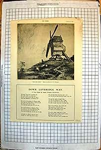 La Copie de Cru Du Vieux Moulin Gravant À L'eau-forte la Colline de Moulin À Vent de C H Barraud Navigue les Moutons 1924