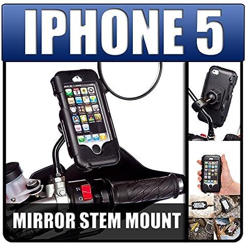 UltimateAddons - Supporto porta cellulare con custodia impermeabile resistente per moto, scooter e biciclette, per Apple iPhone 5 e 5S
