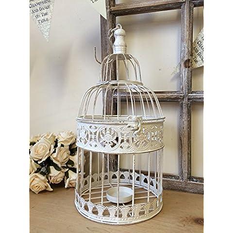 jaula de pájaros color blanco envejecido, decoración de boda, buzón, metal, Blanco, small