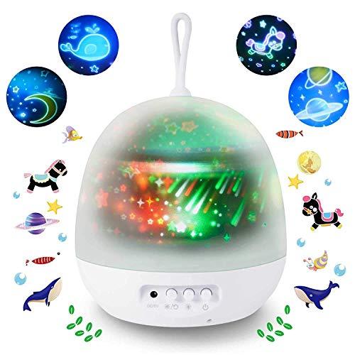 SUNNEST Veilleuse Enfant Etoile Projection, 8 Couleurs + 2 Modes d'alimentation, 360° Rotation Lampe Projecteur, Led Veilleuse Bébé, LED Douce pour des Yeux, Cadeau pour l'anniversaire, Noël