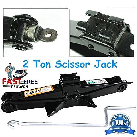 2tonne Ciseaux Jack avec poignée Manivelle Speed pour voitures/BMW/Audi/Vauxhall/Mondeo/Ford Focus de haute qualité, 5ans de garantie