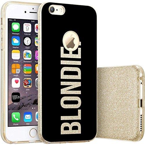 finoo | iPhone 7 Goldene bedruckte Rundum 3 in 1 Glitzer Bling Bling Handy-Hülle | Silikon Schutz-hülle + Glitzer + PP Hülle | Weicher TPU Bumper Case Cover | Queen Black Blondie Black