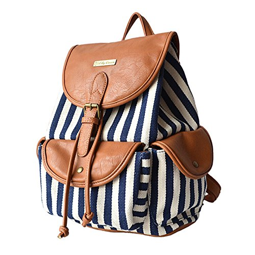 BYD - Femme Sacs portés dos School Bag Travel Bag Imprimés fleuris Design with Metal Brand Card and PU en Cuir Flip Blanc
