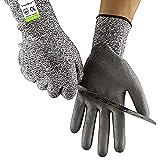 Schnittfest Handschuhe Full Größen - CE EN388 Zertifiziert, Schutzbekleidung Level 5 Schutz, Anti-Slash Sicherheit Handschuhe für Küche, Garten und Baustelle, Größe S/M/L/XL, 9(L)