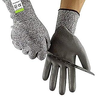 Guantes de Trabajo Resistentes al Cortes, Certificación CE EN388, Nivel 5 de Protección, Guantes PPE de Seguridad Anticortes para Cocina, Jardín, Huerto y Construcción, Calidad Superior, 7/S