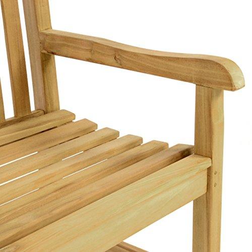 DIVERO 2-Sitzer Bank Holzbank Gartenbank Sitzbank 130 cm – zertifiziertes Teak-Holz hochwertig massiv behandelt – reine Handarbeit – wetterfest - 4