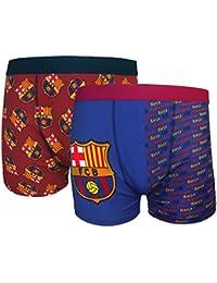 FC Barcelona - Par de 2 calzoncillos oficiales de estilo bóxer - Para hombre - Con el escudo del club