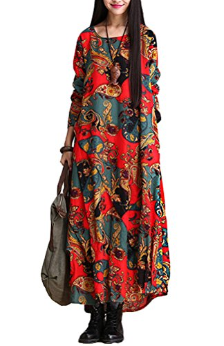 voguees-femme-robe-asymmetric-patchwork-en-lin-rouge
